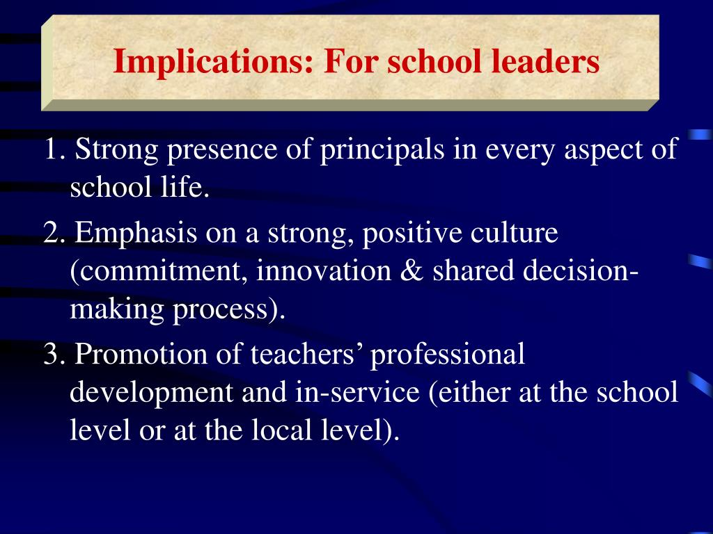 Implications: For school leaders