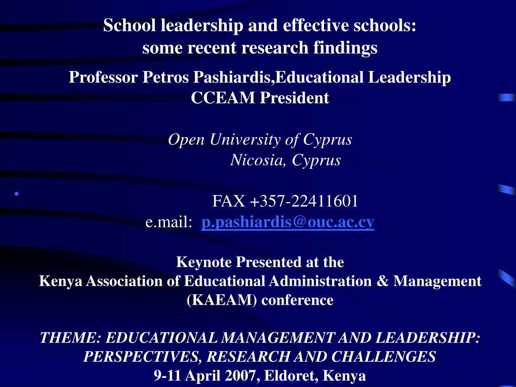 School leadership and effective schools:
