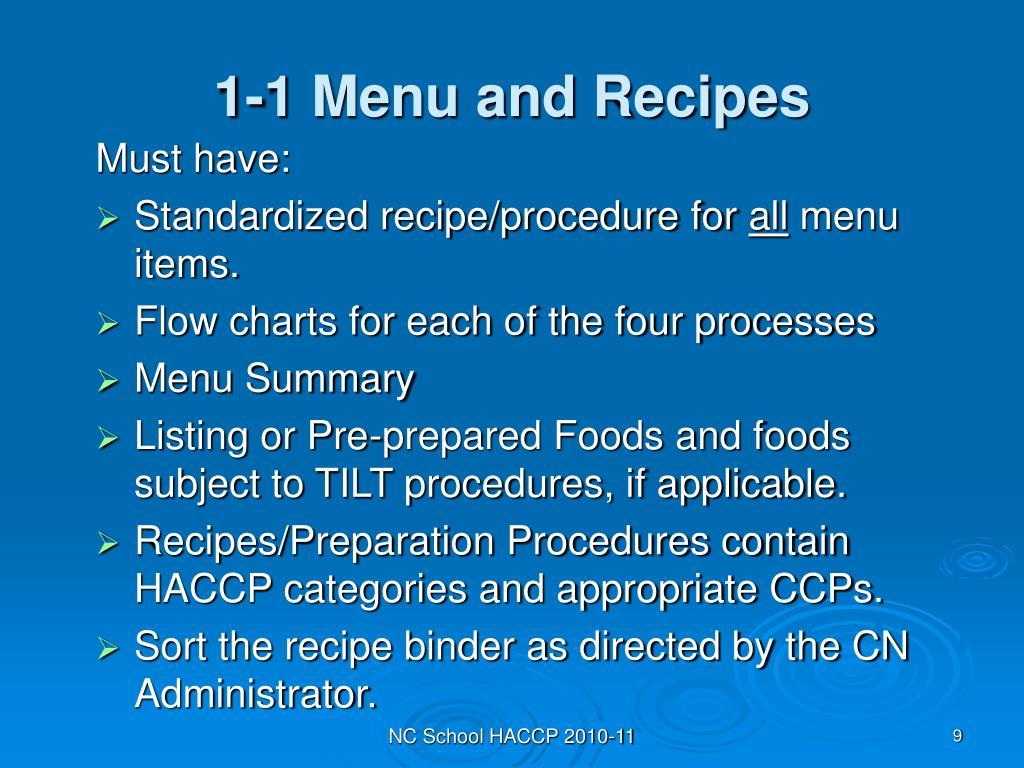 1-1 Menu and Recipes