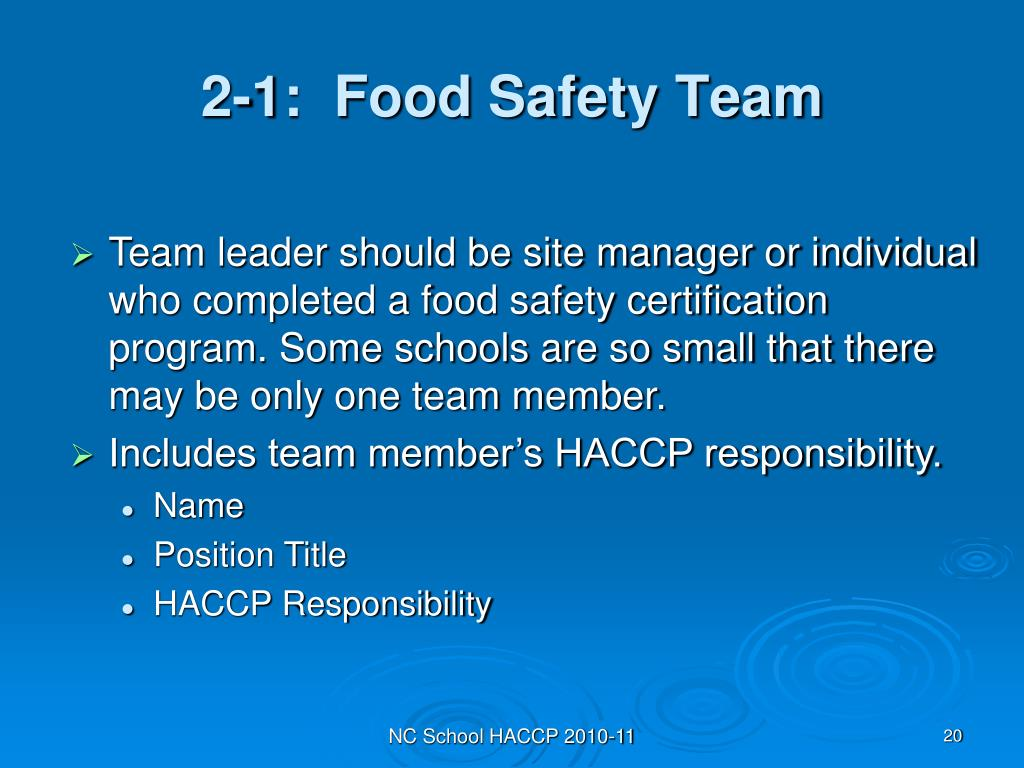 2-1:  Food Safety Team