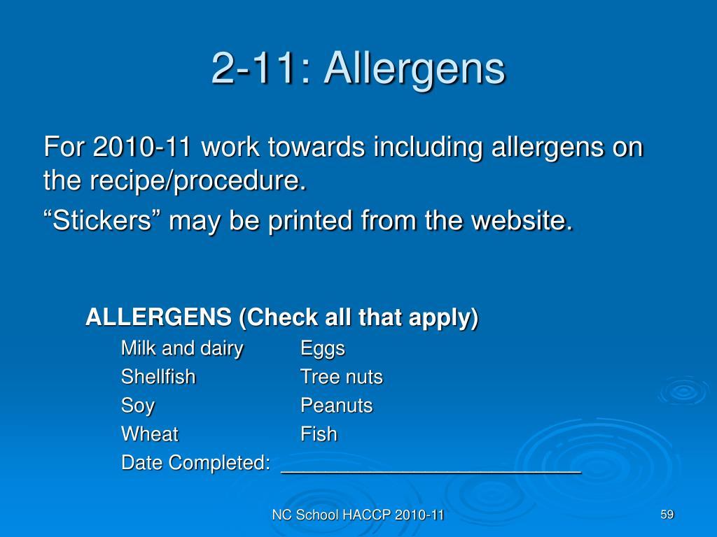 2-11: Allergens