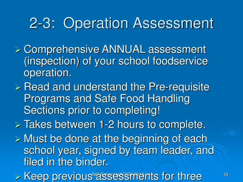 2-3:  Operation Assessment