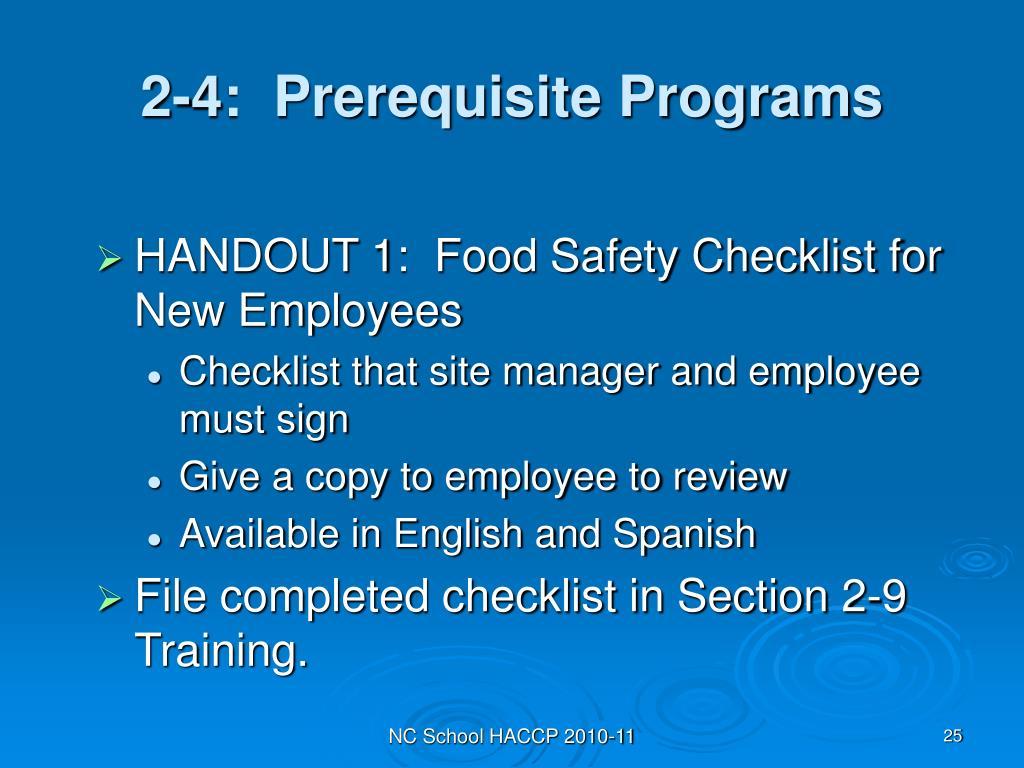 2-4:  Prerequisite Programs