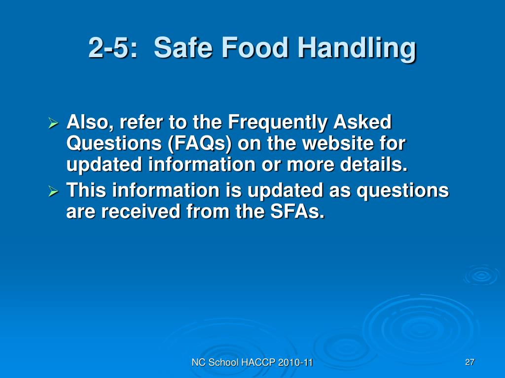 2-5:  Safe Food Handling