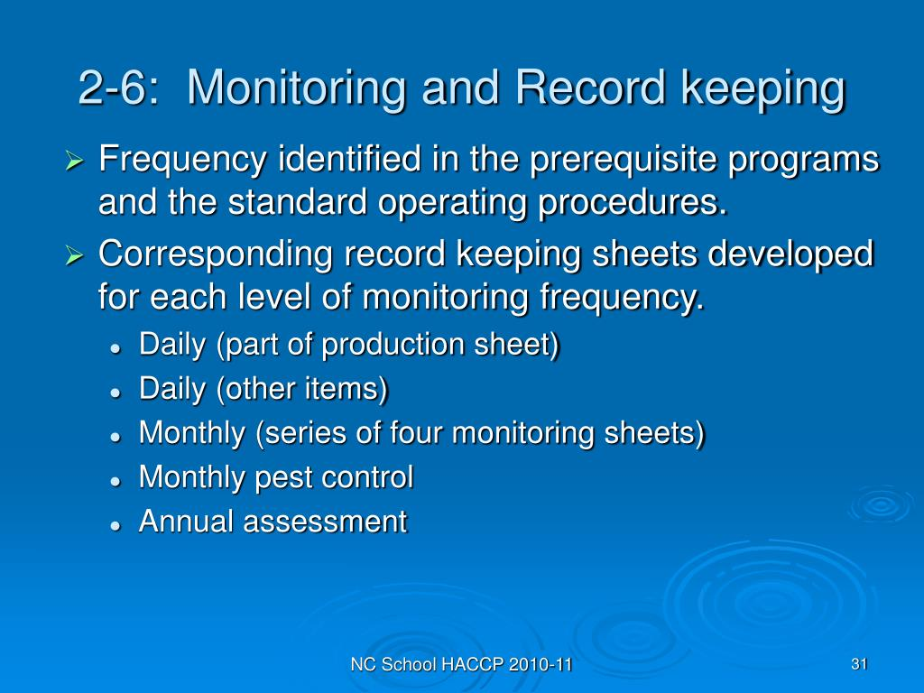 2-6:  Monitoring and Record keeping
