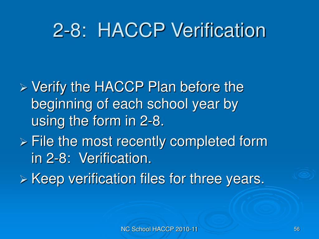 2-8:  HACCP Verification