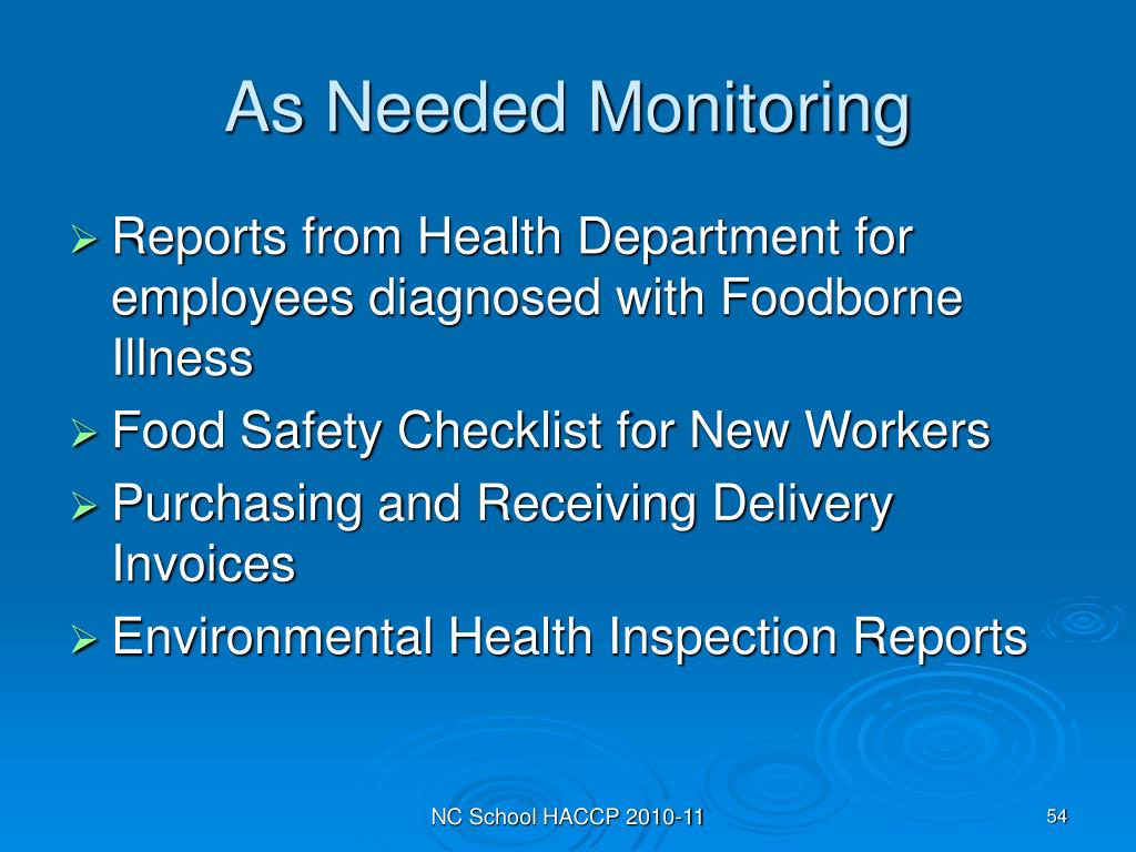 As Needed Monitoring