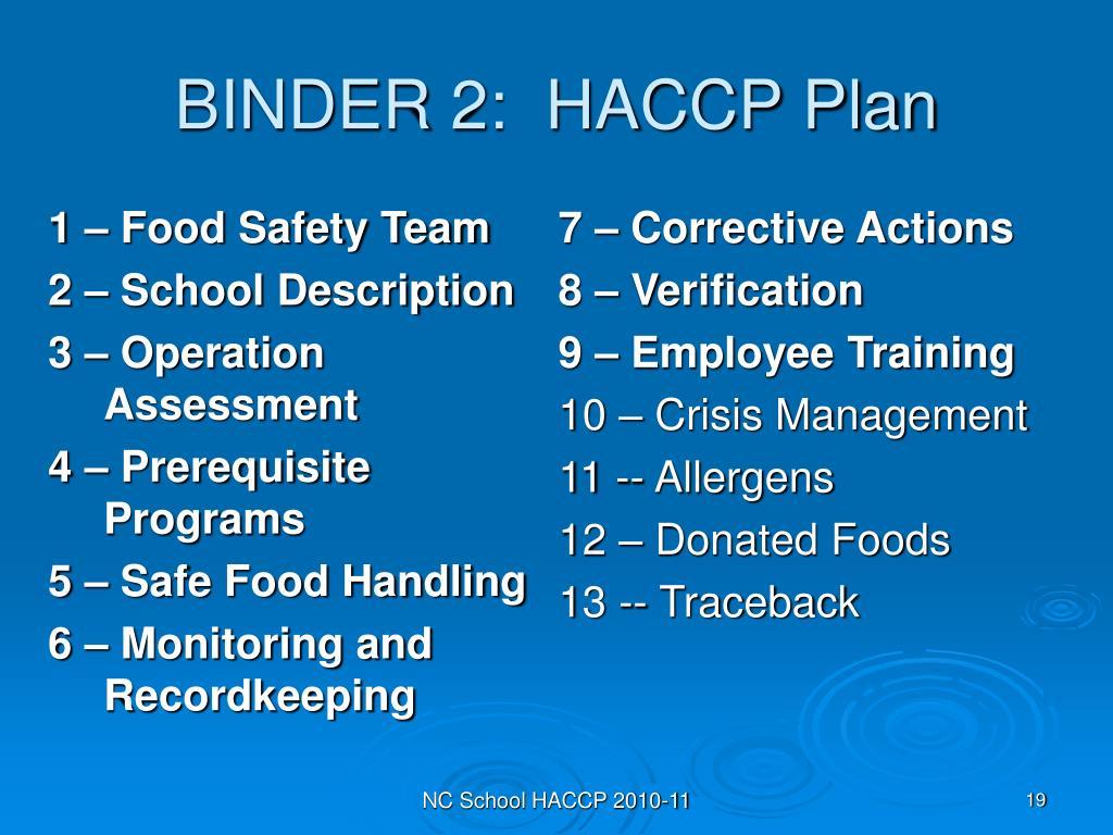 BINDER 2:  HACCP Plan