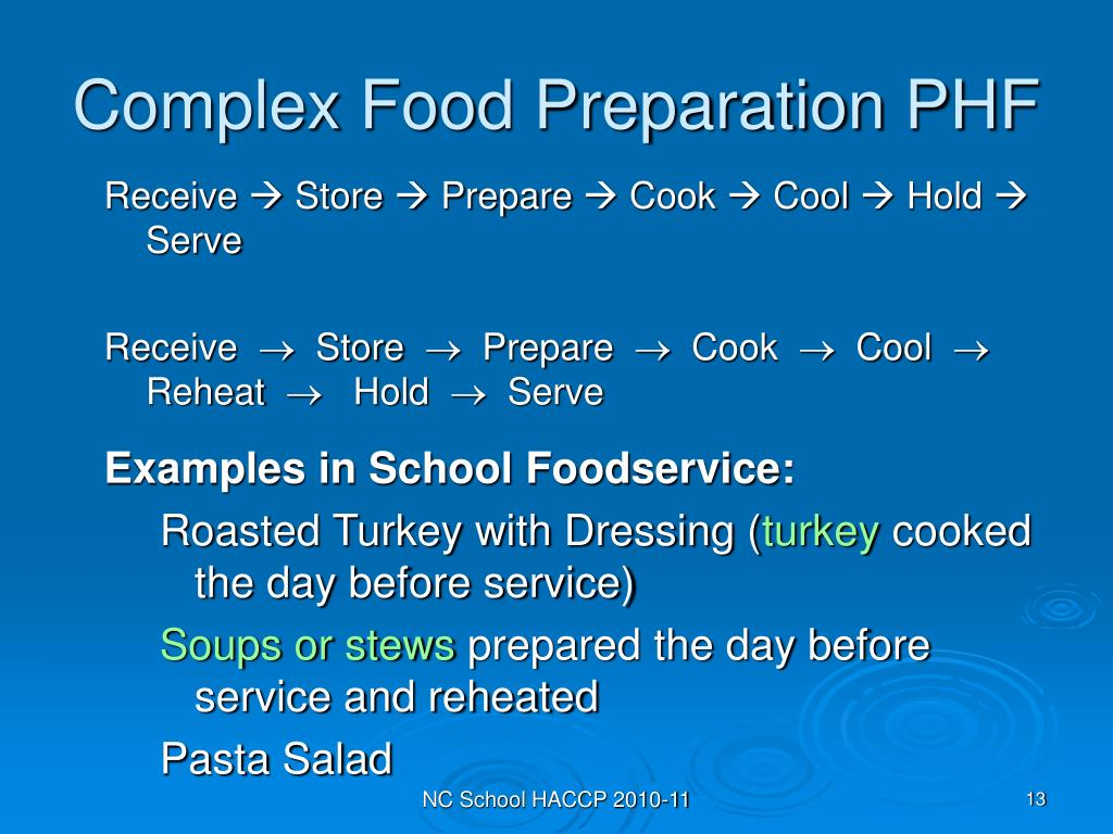 Complex Food Preparation PHF