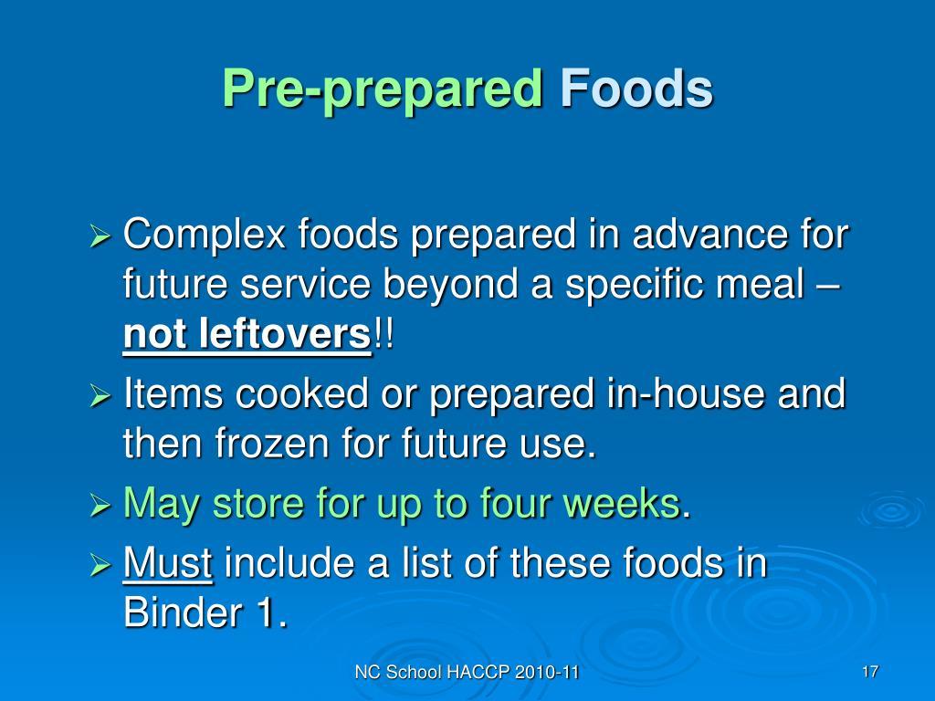 Pre-prepared