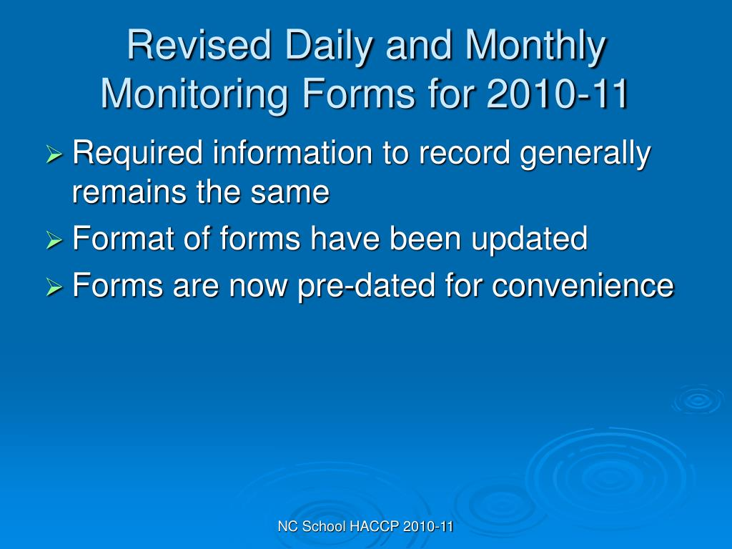 Revised Daily and Monthly Monitoring Forms for 2010-11