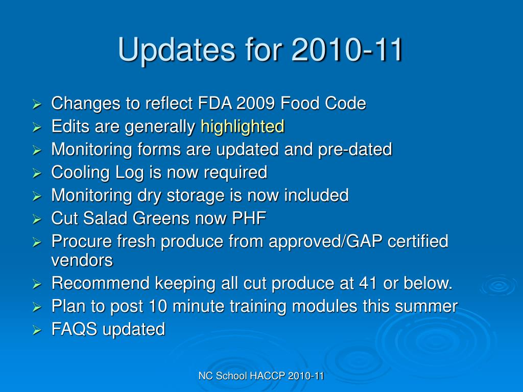 Updates for 2010-11