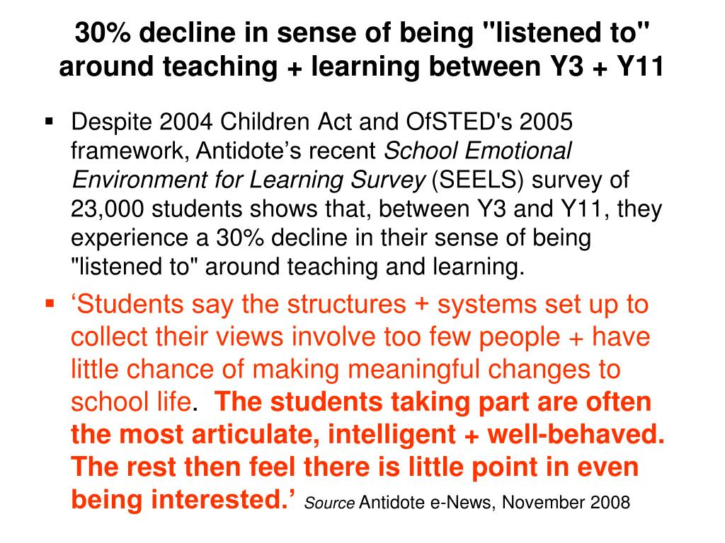 "30% decline in sense of being ""listened to"" around teaching + learning between Y3 + Y11"
