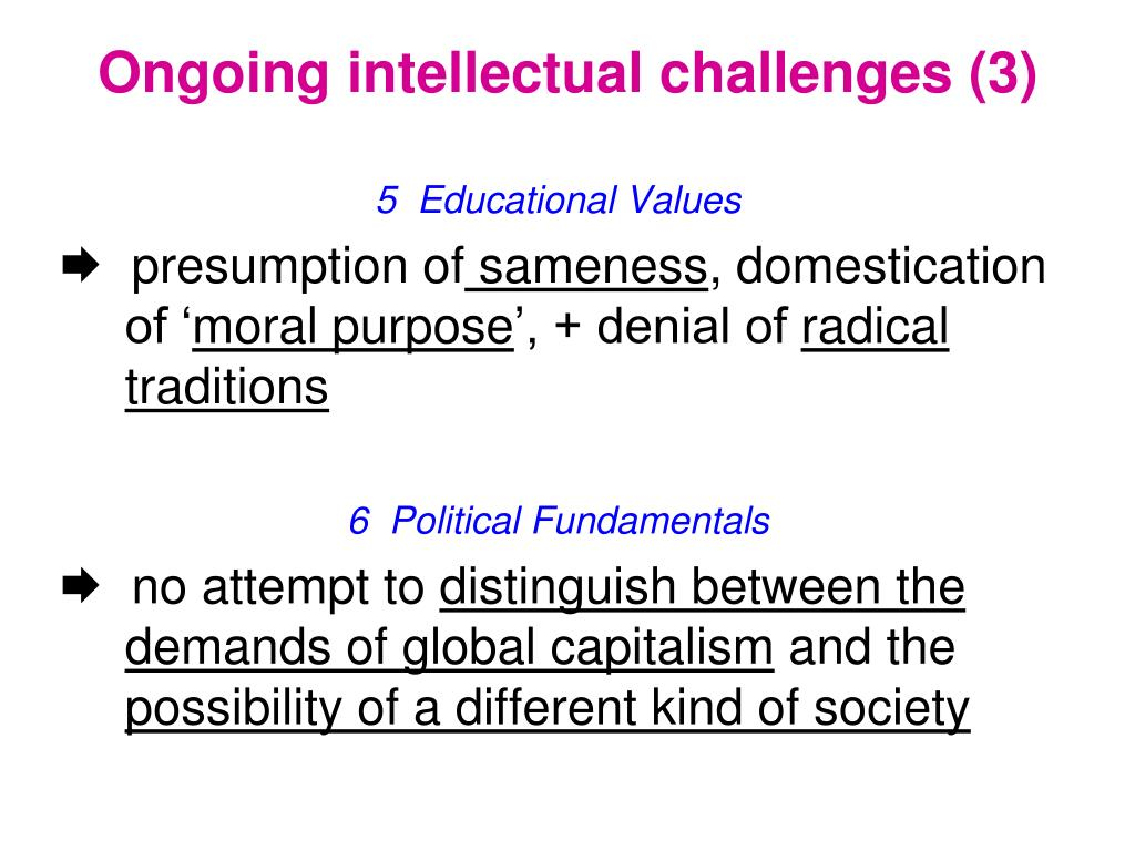 Ongoing intellectual challenges (3)