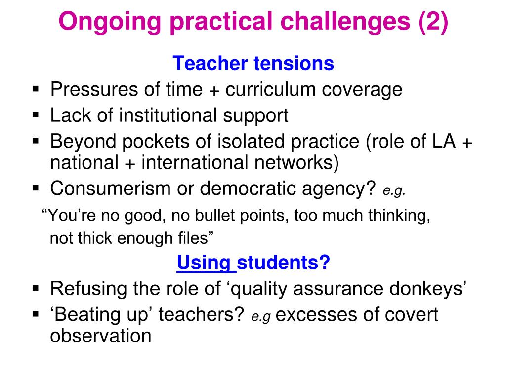 Ongoing practical challenges (2)