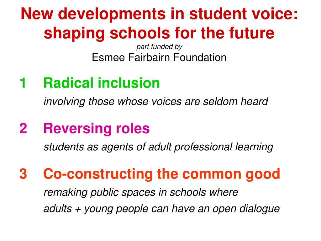 New developments in student voice: shaping schools for the future