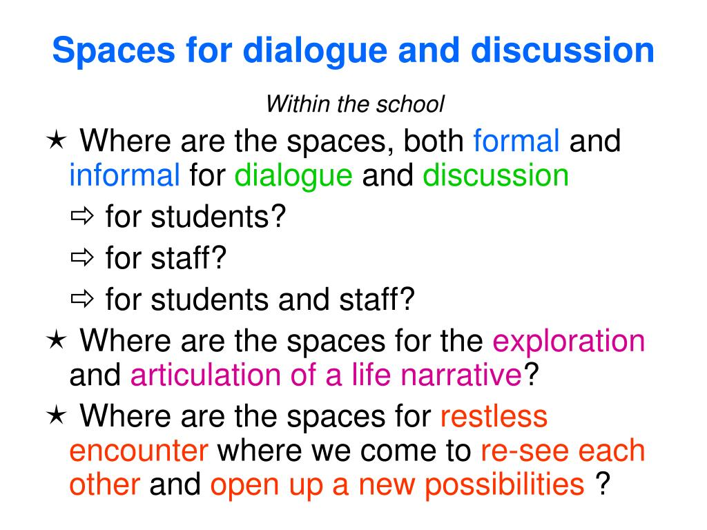 Spaces for dialogue and discussion