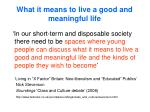 what it means to live a good and meaningful life