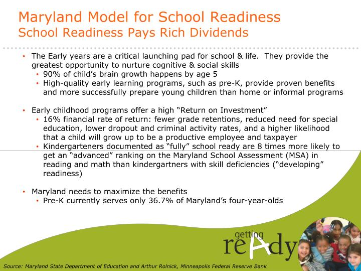Maryland model for school readiness school readiness pays rich dividends