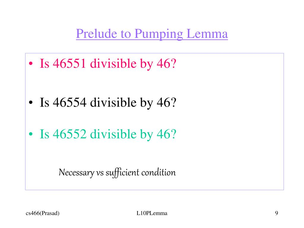 Prelude to Pumping Lemma