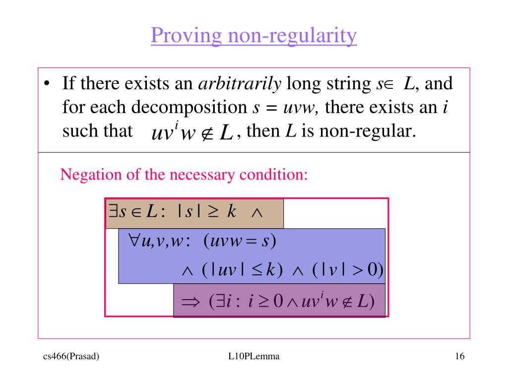 Proving non-regularity