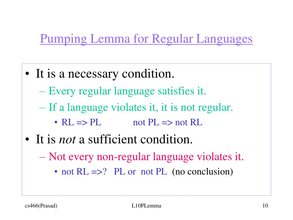 Pumping Lemma for Regular Languages