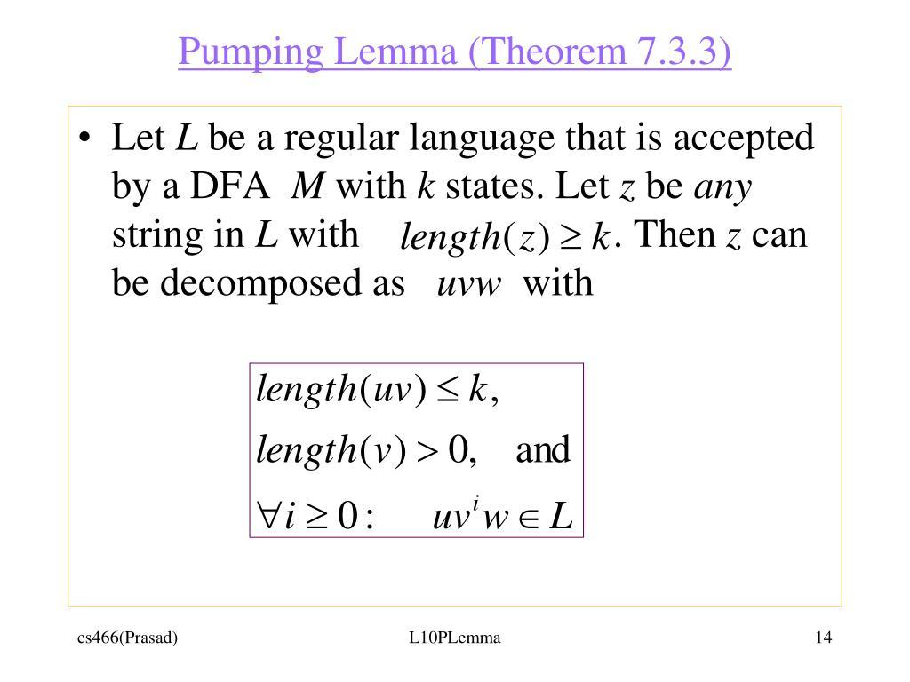 Pumping Lemma (Theorem 7.3.3)