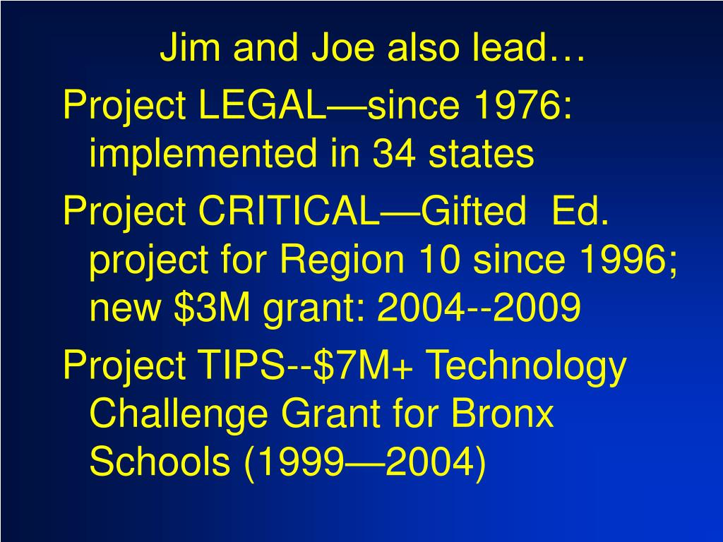Jim and Joe also lead…