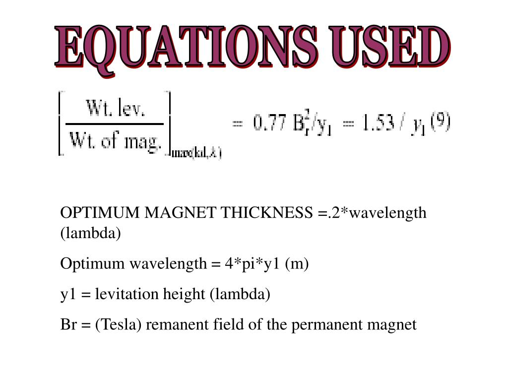 EQUATIONS USED