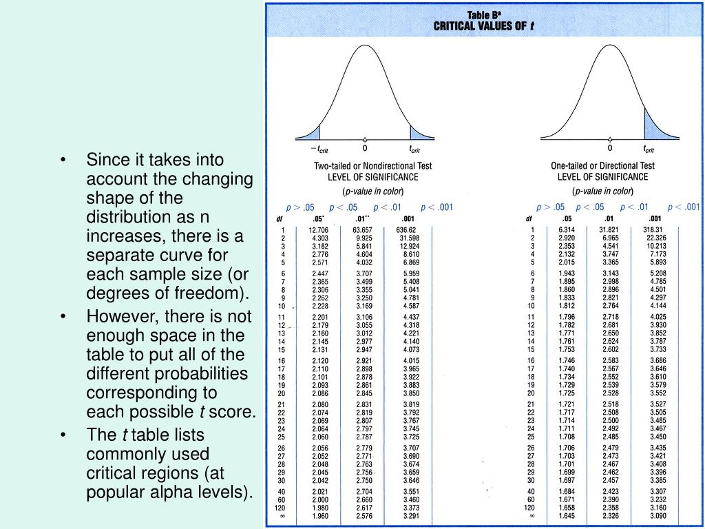 Since it takes into account the changing shape of the distribution as n increases, there is a separate curve for each sample size (or degrees of freedom).