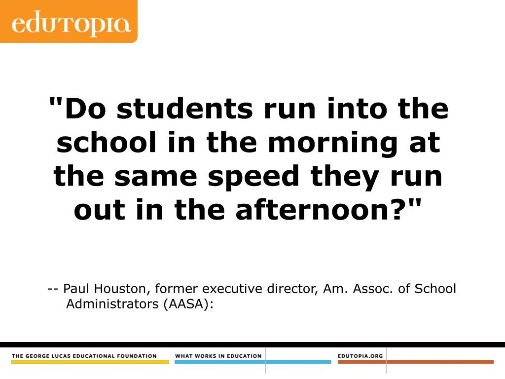 """Do students run into the school in the morning at the same speed they run out in the afternoon?"""