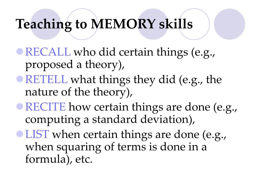 Teaching to MEMORY skills