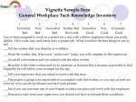 vignette sample item general workplace tacit knowledge inventory