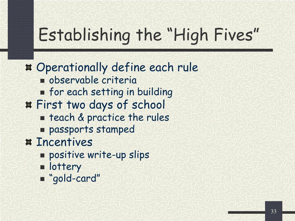 "Establishing the ""High Fives"""