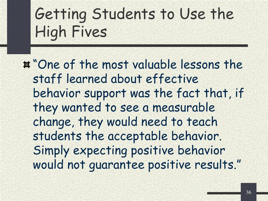Getting Students to Use the High Fives