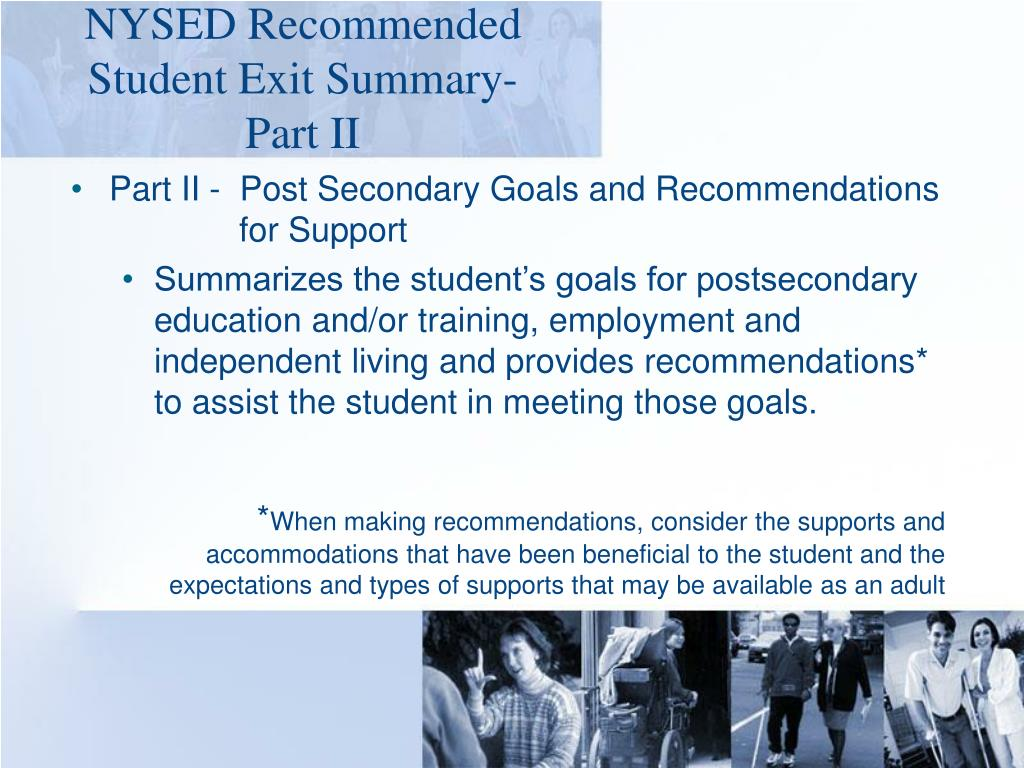 NYSED Recommended Student Exit Summary-