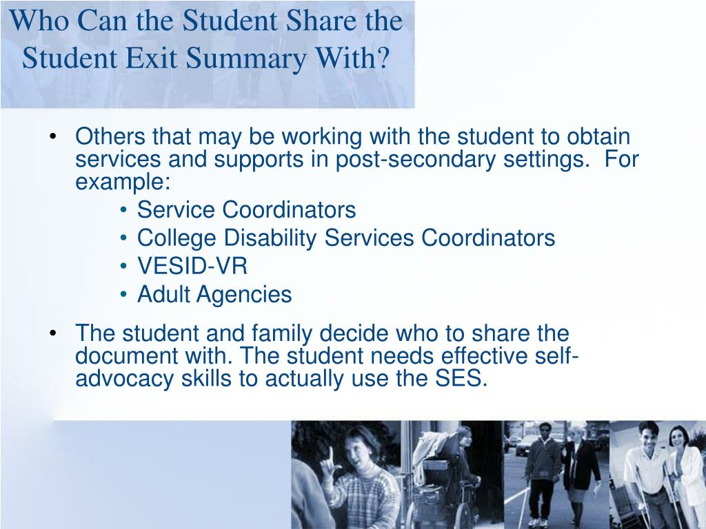 Who Can the Student Share the Student Exit Summary With?