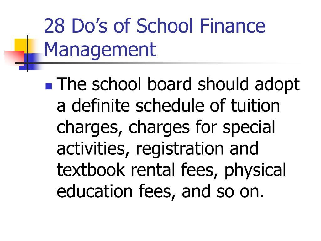 28 Do's of School Finance Management
