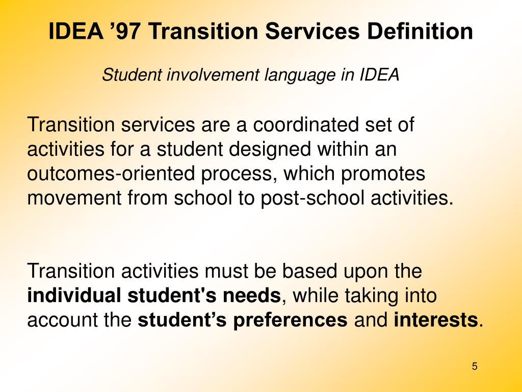 IDEA '97 Transition Services Definition