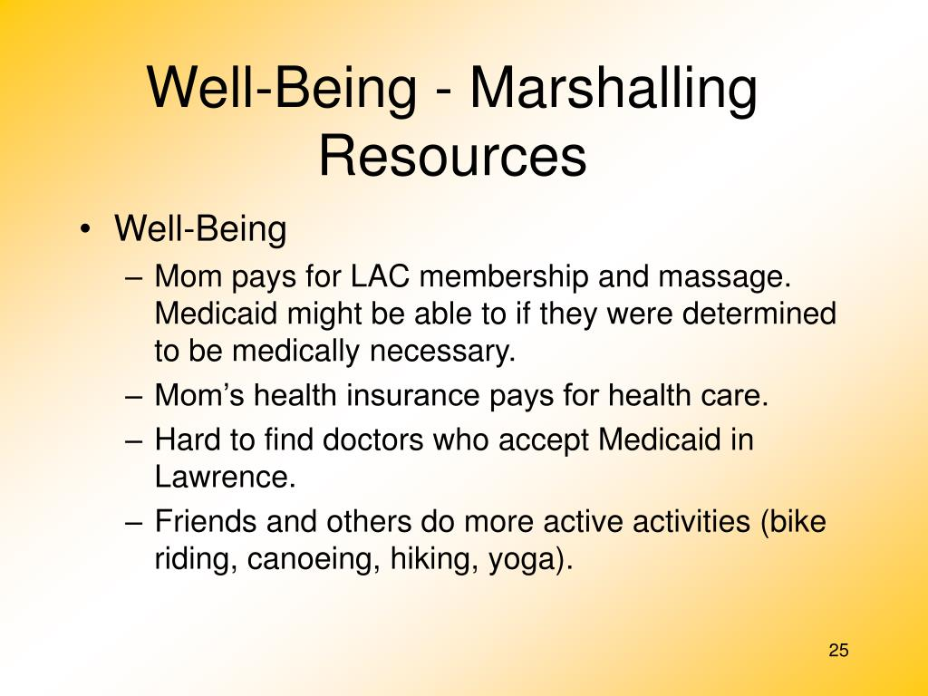 Well-Being - Marshalling Resources