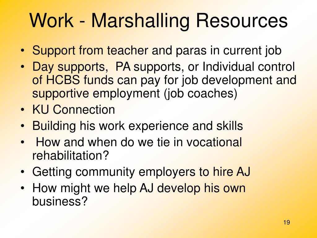 Work - Marshalling Resources