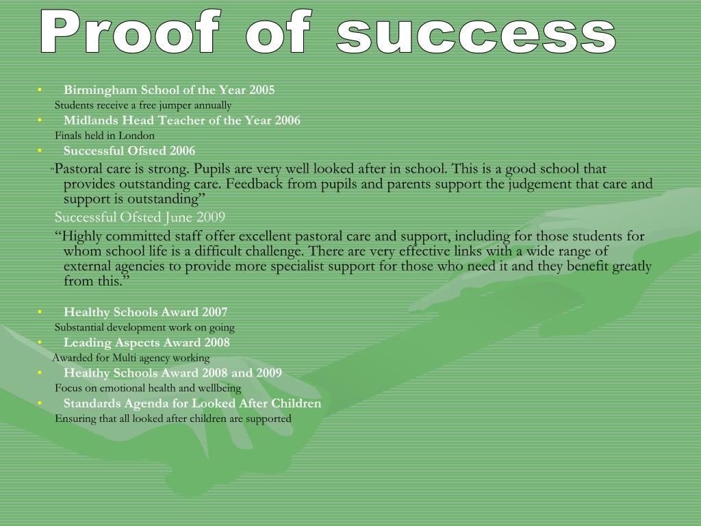 Proof of success