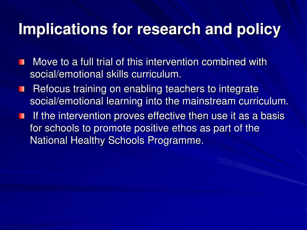 Implications for research and policy