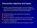 intervention objective and inputs