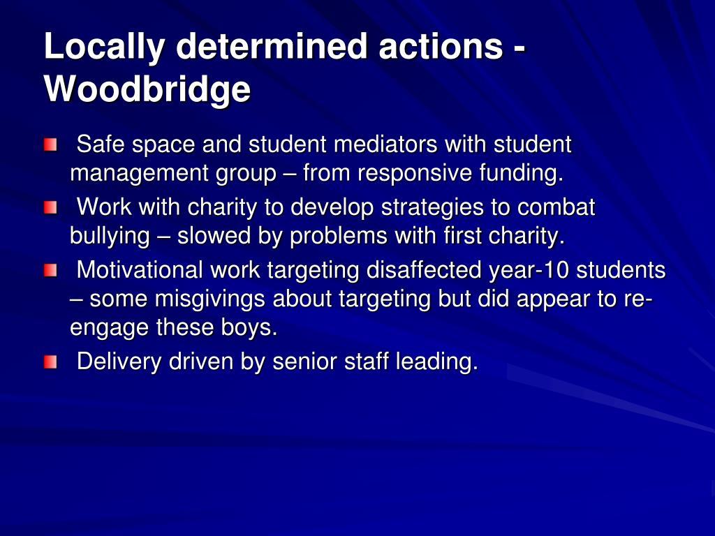 Locally determined actions - Woodbridge