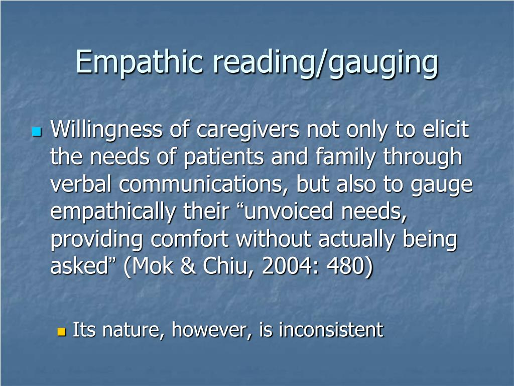 Empathic reading/gauging
