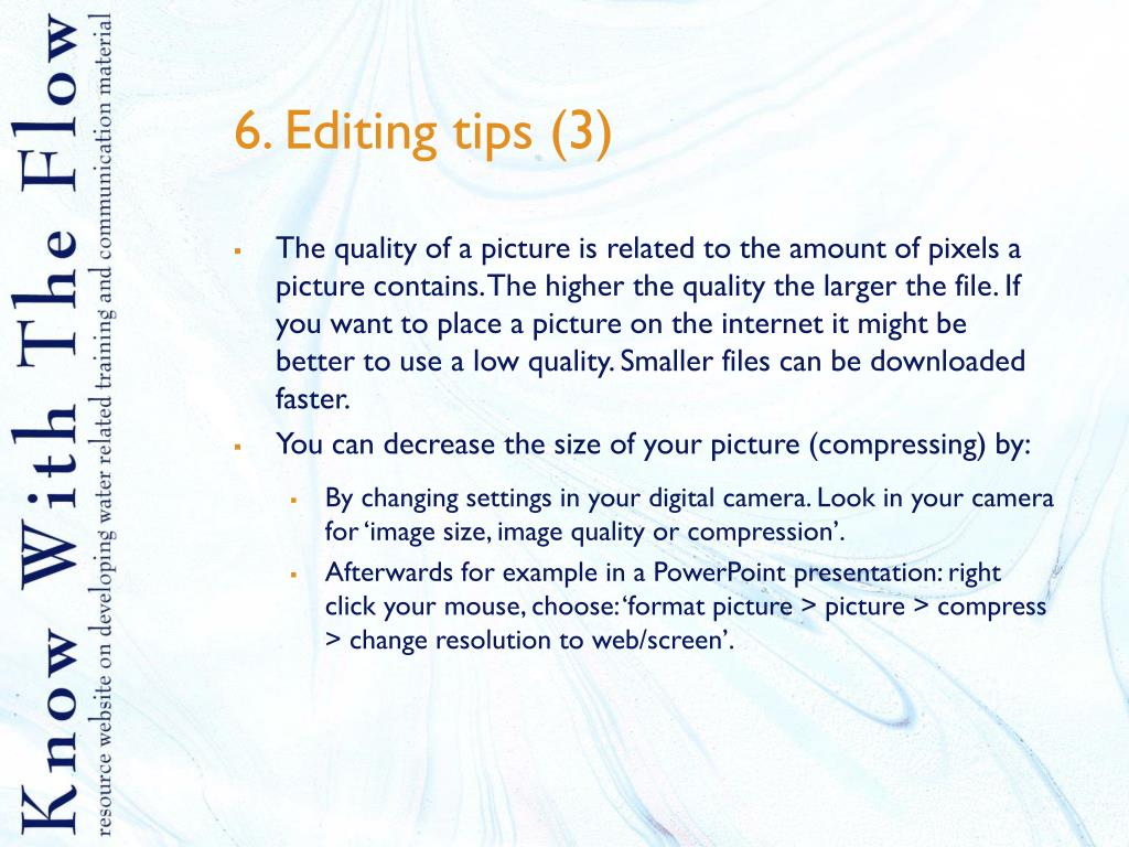 6. Editing tips (3)