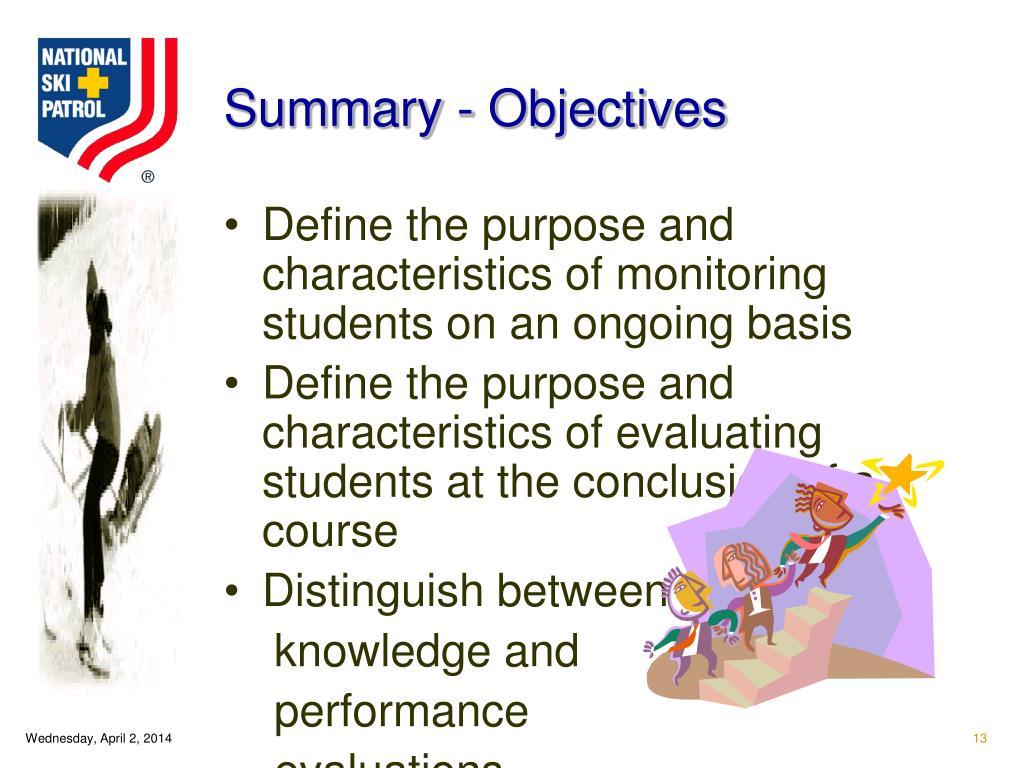 Summary - Objectives