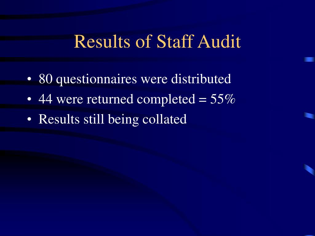 Results of Staff Audit