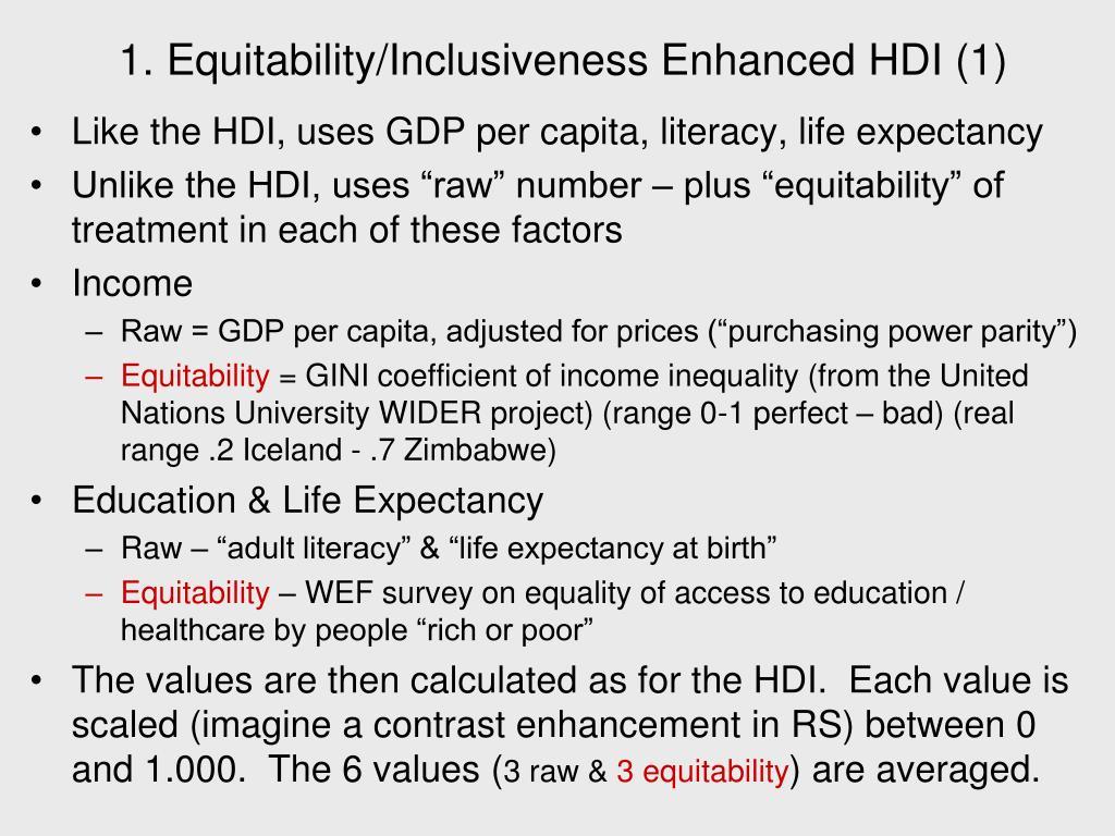1. Equitability/Inclusiveness Enhanced HDI (1)